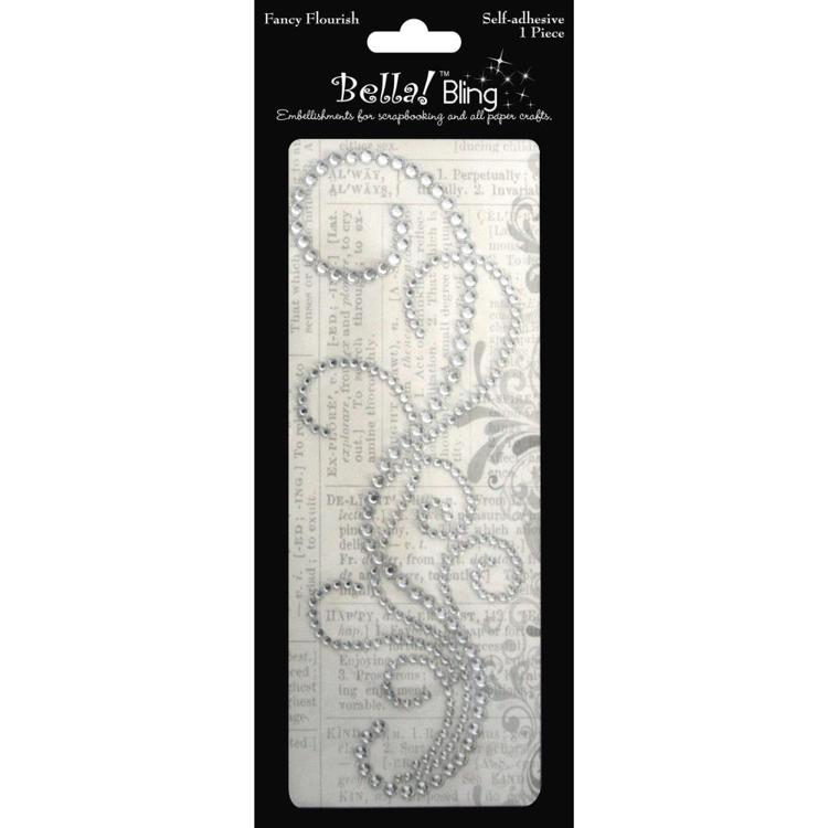 54791 Bling Self-Adhesive Fancy Flourish Clear.