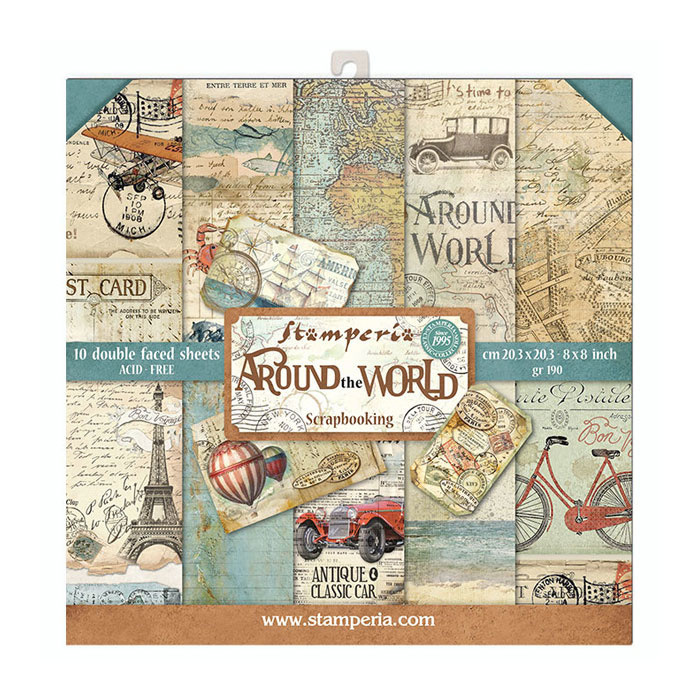 54962 Stamperia Around the World 8x8 Inch Paper Pack (SBBS12).