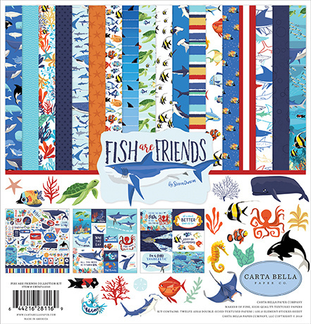 54977 Carta Bella Fish Are Friends 12x12 Inch Collection Kit (CBFAF111016).