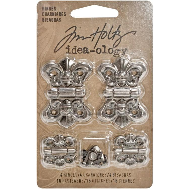55040 Tim Holtz Idea-Ology Metal Hinges W/Brads 4/Pkg Antique Nickel W/16 Fasteners(TH93075).