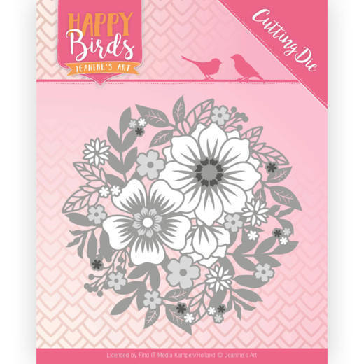 55105 Dies - Jeanine's Art - Happy Birds - Bloemencircle (JAD10084).
