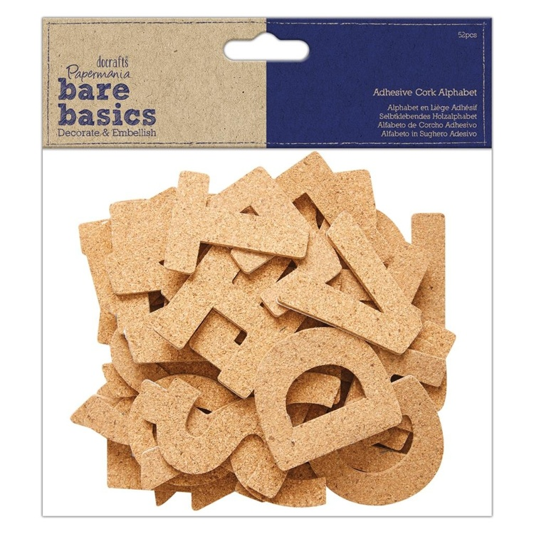 55149 Papermania Bare Basics Adhesive Cork Alphabet (52pcs) (PMA 174820).