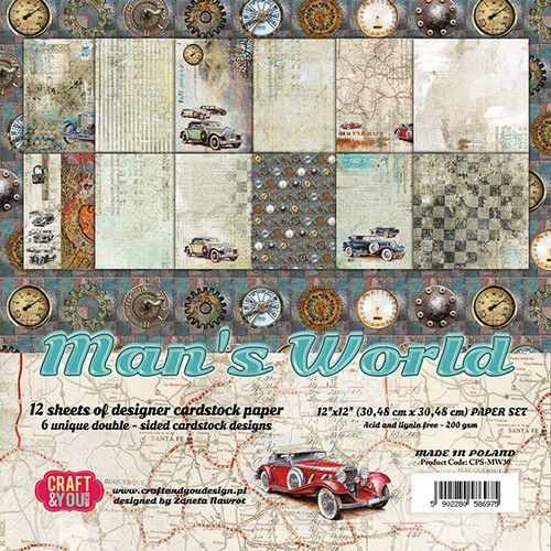 55311 Craft&You Mans World Big Paper Set 12x12 12 Vel.