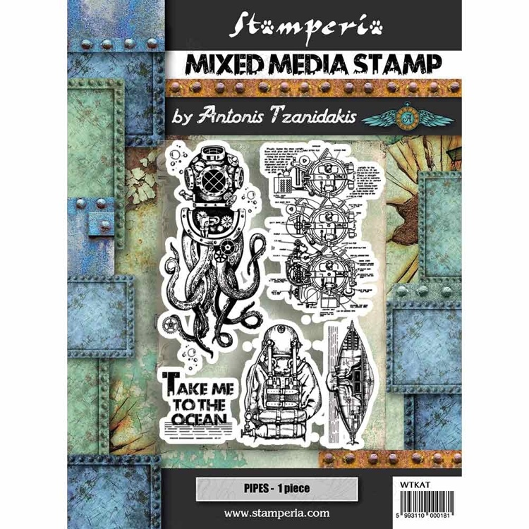 55462 Stamperia Mixed Media Stamp Octopus (WTKAT12).