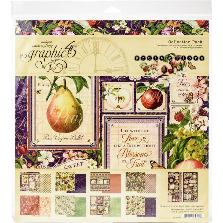 "55522 Graphic 45 Collection Pack 12""X12"" Fruit & Flora (4502000)."