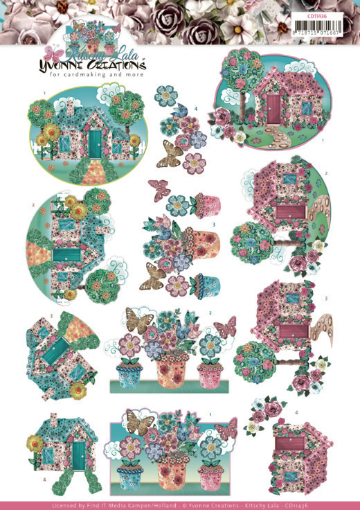 55573 cutting sheet - Yvonne Creations - Kitschy Lala - Kitschy Garden (CD11437).