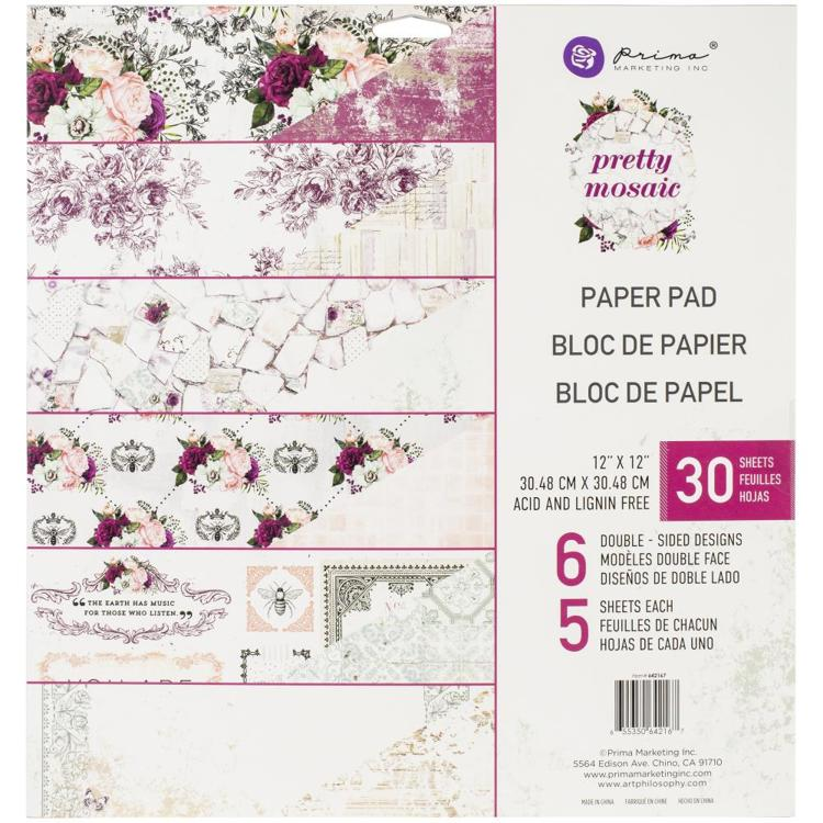 "55591 Prima Marketing Double-Sided Paper Pad 12""X12"" 30/Pkg Pretty Mosaic (642167)."