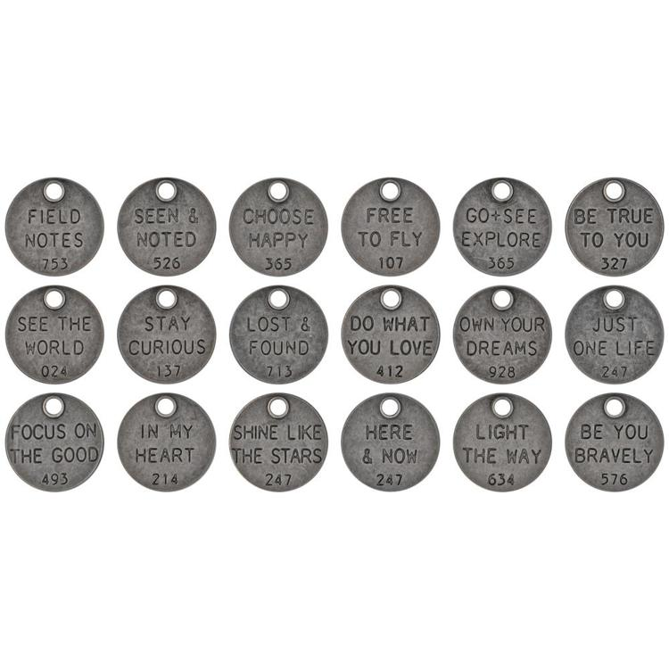 55667 dea-Ology Metal Adornments 18/Pkg Yhought Tokens (TH94024).