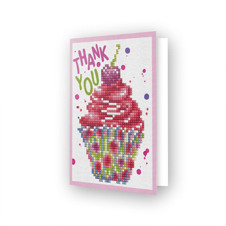55677 DDG.025 Diamond Dotz® - Greeting Card CUP CAKE THANK YOU.