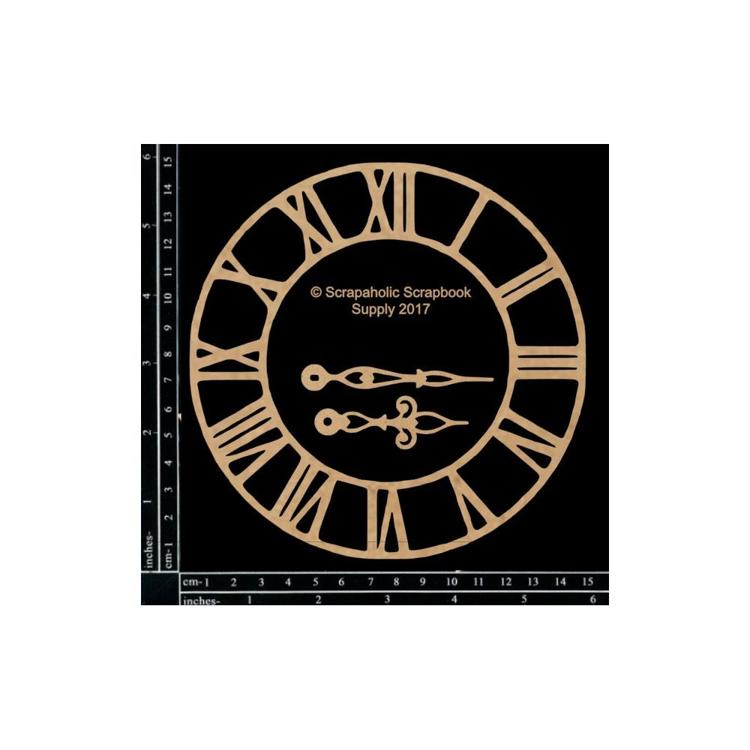 "55843 Scrapaholics Laser Cut Chipboard 1.8mm Thick Medium Roman Clock, 3/Pkg, 6""-2.3""."