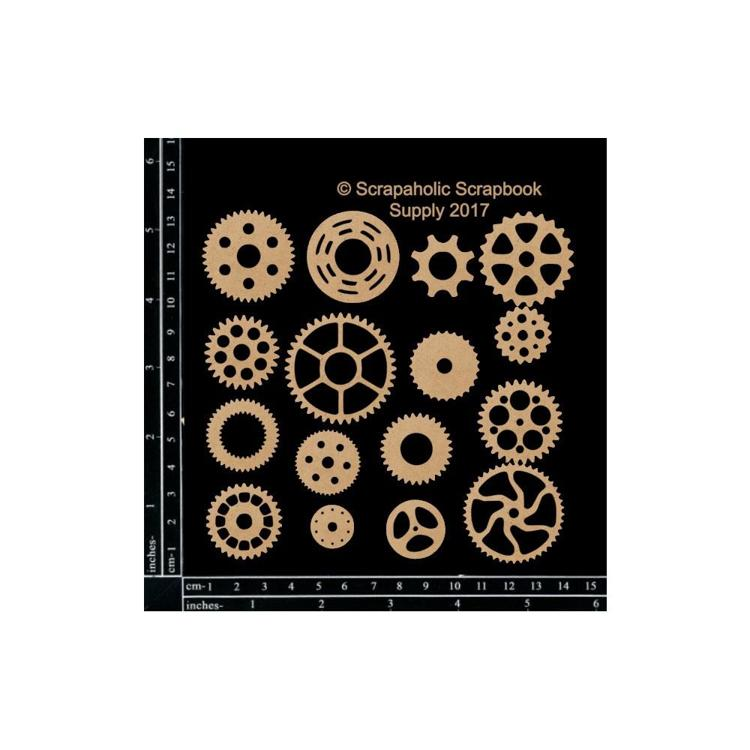 "55844 Scrapaholics Laser Cut Chipboard 1.8mm Thick Cogs, 16/Pkg, .75""-2""."