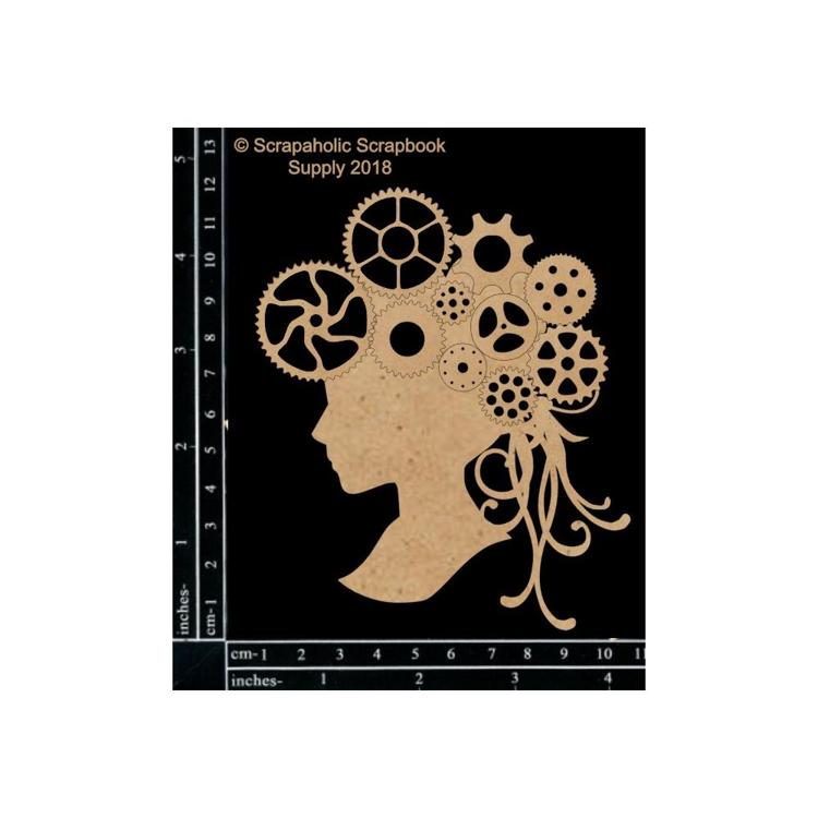 "55845 Scrapaholics Laser Cut Chipboard 1.8mm Thick Steampunk Cameo, 4.5""X3.8""."