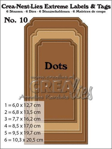 55871 Crealies Crea-nest-lies Extreme labels&tags no 10 with dots CNLELT10 / max. 102,5 x 205 mm.