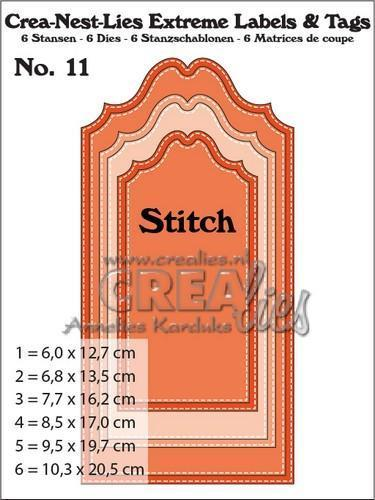 55872 Crealies Crea-nest-lies Extreme labels&tags no 11 with Stitch CNLELT11 / max. 102,5 x 205 mm.