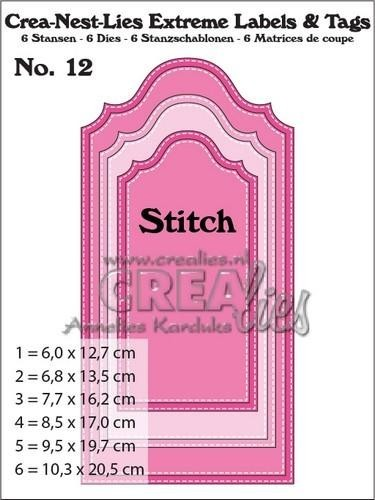 55873 Crealies Crea-nest-lies Extreme labels&tags no 12 with Stitch CNLELT12 / max. 102,5 x 205 mm.