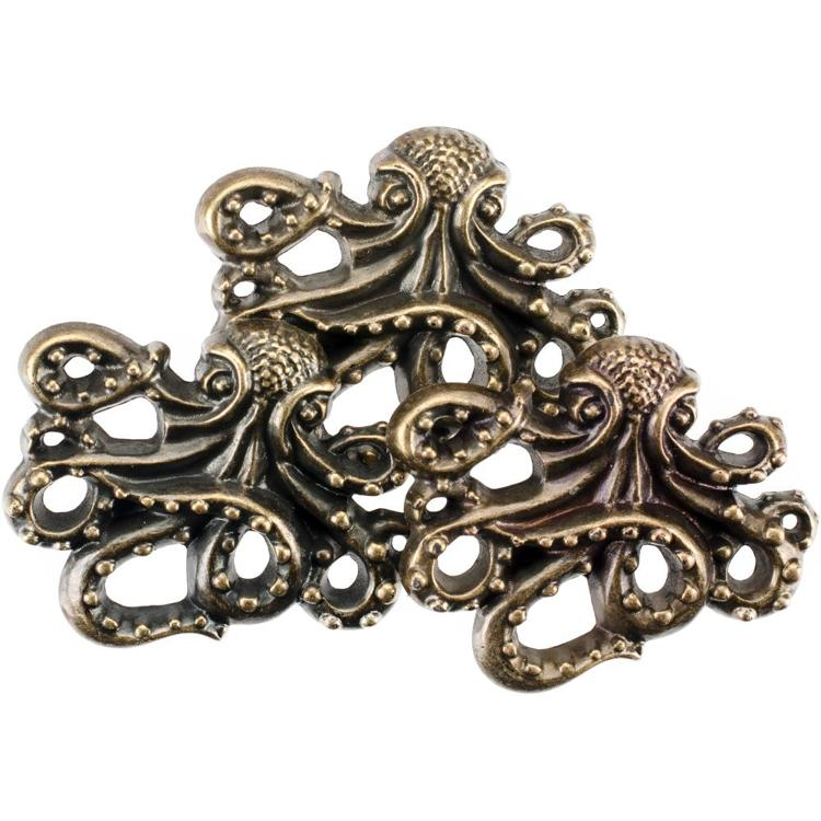 55874 Blumenthal Steampunk Buttons Antique Gold Octopus 7/Pkg.