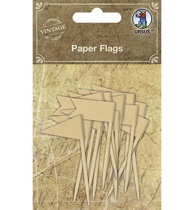 56054 Ursus Paper Flags Assorted in 2 motifs 16 Stuks.