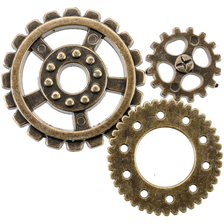 56163 Blumenthal Steampunk Buttons Antique Gold Gear 20/Pkg.