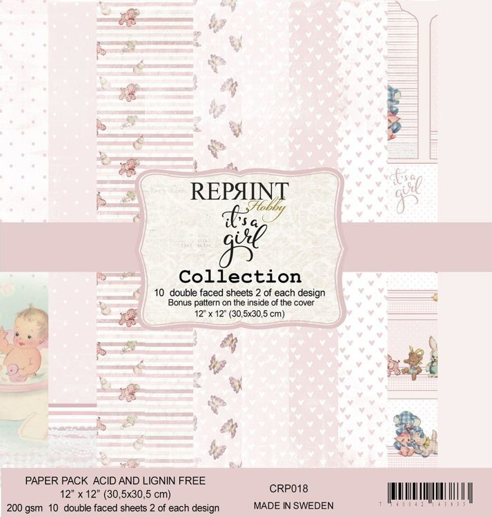 "56325 CRP018 It´s a girl collection pack 2 of each, total 10 12x12""papers."