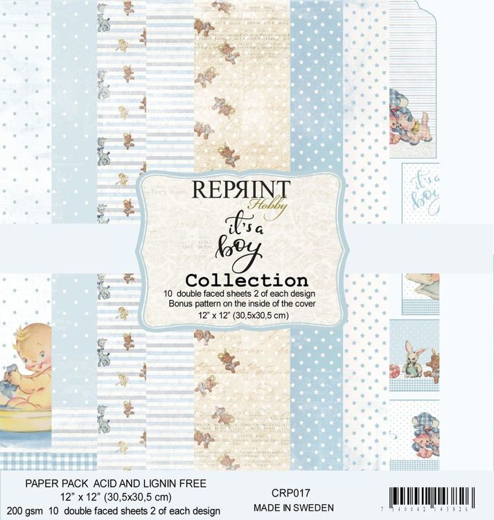 "56326 Reprint CRP017 It´s a Boy collection pack 2 of each , total 10 12x12""papers."