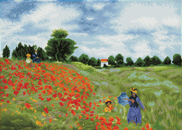 56635 DD12.048 Diamond Dotz® - 57x41cm Poppy Fields (après Monet) FULL PAINTING.