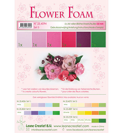 57675 Leane Creatief Foam, sheets assorti Set 5 Red  Pink Colours 6 sheets / A4 / 0.8mm (50.4094).
