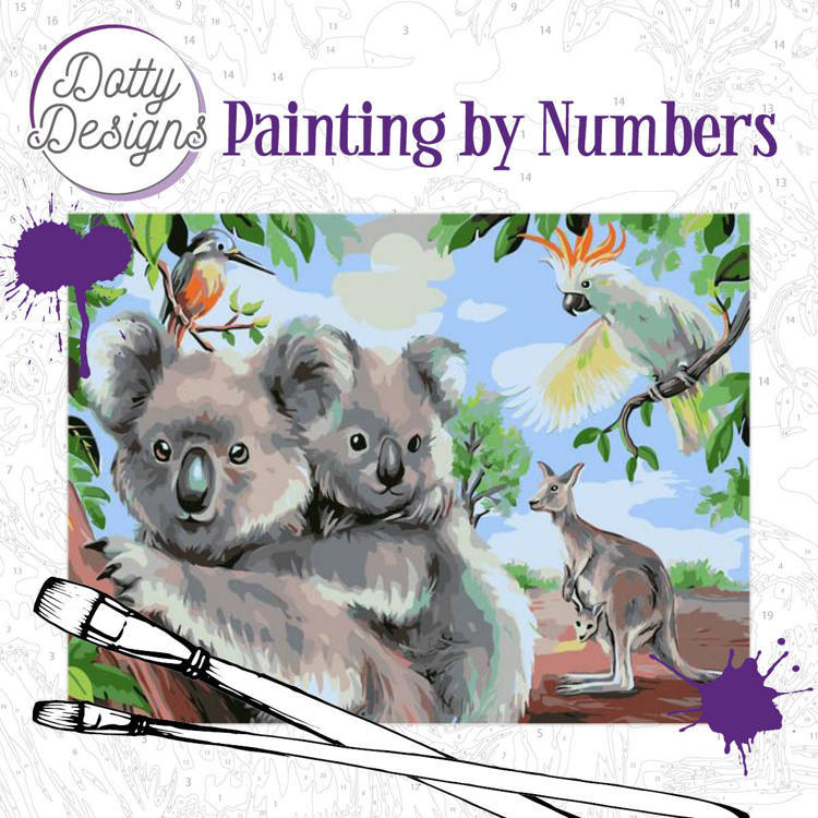 57978 Dotty Design Painting by Numbers - Wild Animals Outback (DDP1007).
