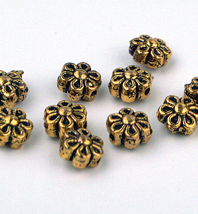 58091 Hobby Crafting Fun Beads, Antique Gilt 10 Stuks 6mm. (10303-8199).