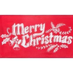 "58255 Cascade Satin Ribbon W/Wired Edge 4""X15yd Merry Christmas Red on White Chalkboard."