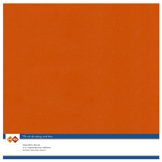 58434 Linnen Karton Scrap 10 Vel 240 Grams Autumn Orange.