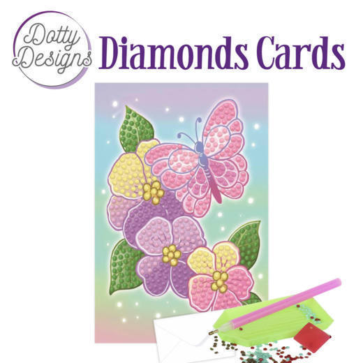 58514 DDDC1012 Dotty Designs Diamonds Cards - Purple Flowers.