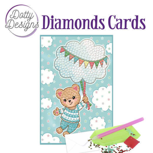 58515 DDDC1011 Dotty Designs Diamonds Cards - Blue Baby Bear.