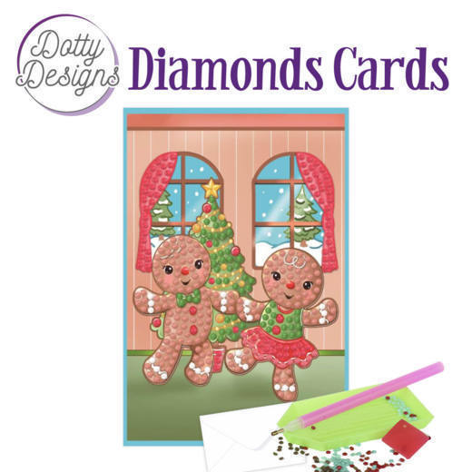 58520 DDDC1006 Dotty Designs Diamonds Cards - Gingerbread Dolls.
