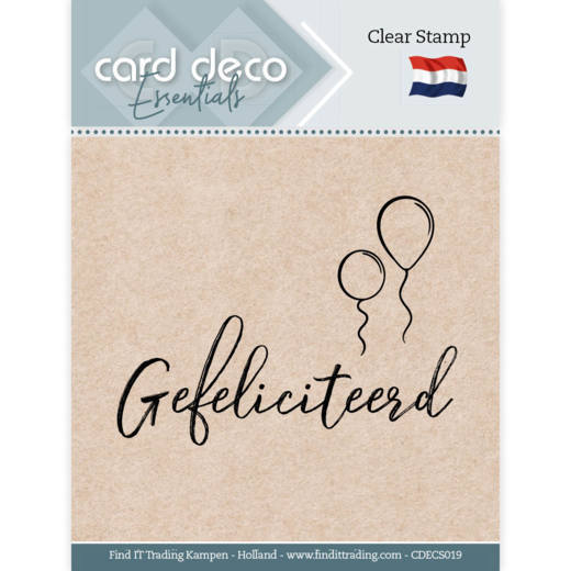 58754 Card Deco Essentials - Clear Stamps -  Gefeliciteerd (CDECS019).