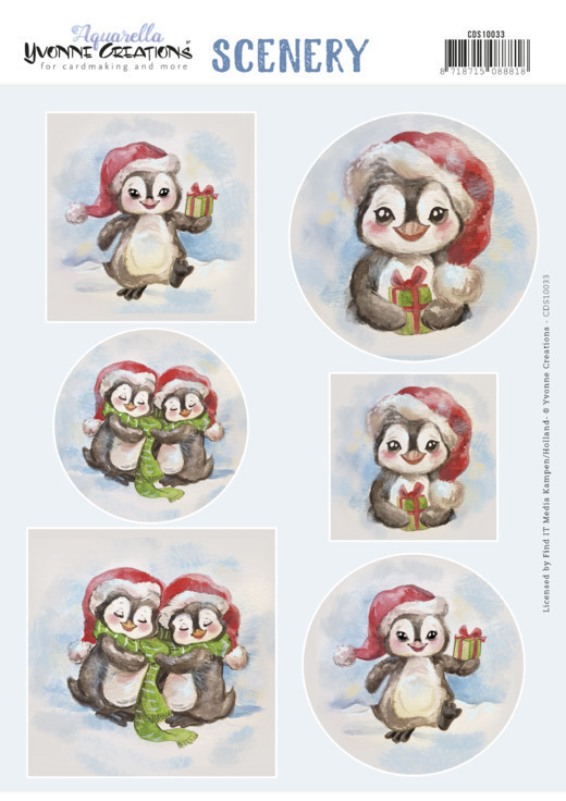 58926 CDS10033 Push Out Scenery - Yvonne Creations - Aquarella - Christmas Penguin.
