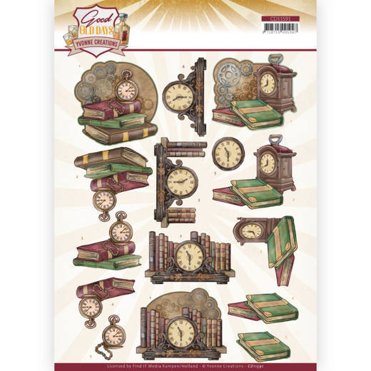 59160 (767) 3D cutting sheet - Yvonne Creations - Good Old Day's - Clock (CD11591).