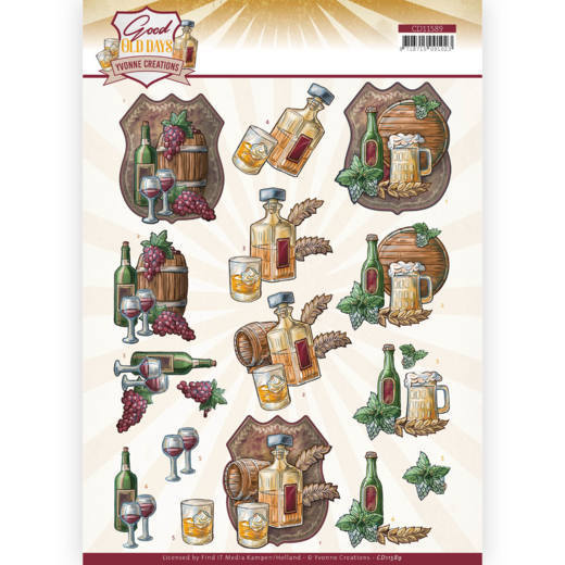 59162 (771) 3D cutting sheet - Yvonne Creations - Good Old Day's -  Whiskey (CD11589).