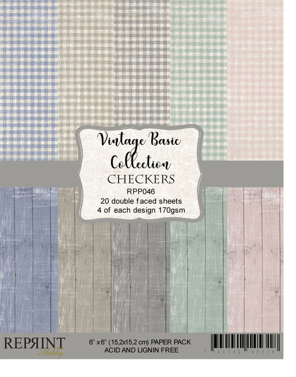 59212 Reprint RPP046 Checkers Vintage Basic Collection Paperpack size 6x6 170gsm.