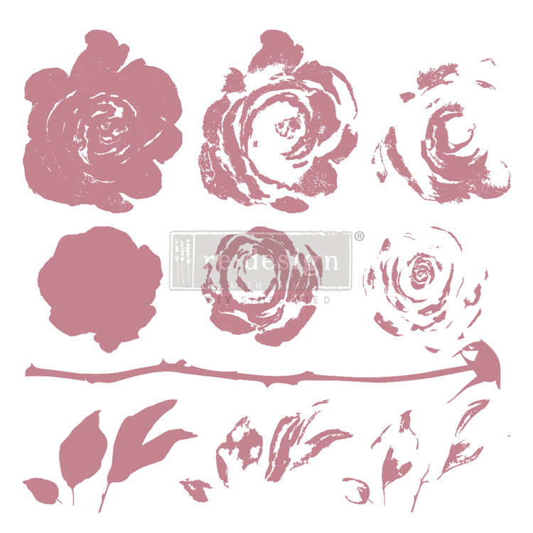 59546 Re-Design with Prima Decor Clear-Cling Stamps 12x12 Inch Mystic Rose (649418).