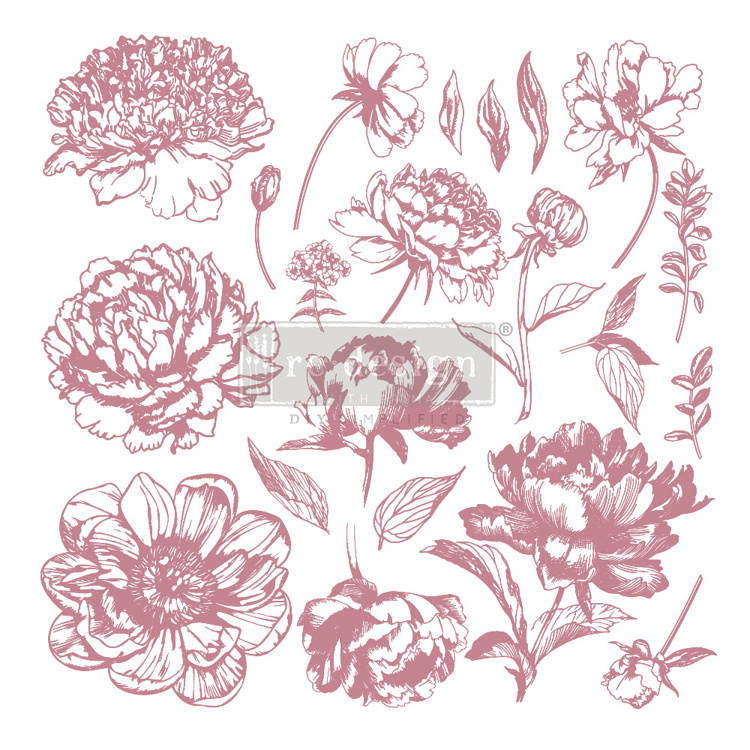 59548 Re-Design with Prima Decor Clear-Cling Stamps 12x12 Inch Linear Floral (649159).