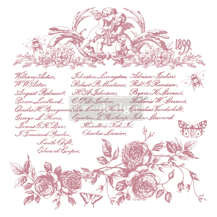 59552 Re-Design with Prima Decor Clear-Cling Stamps 12x12 Inch Floral Script (650070).