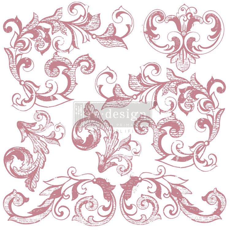 59553 Re-Design with Prima Decor Clear-Cling Stamps 12x12 Inch Elegant Scrolls (649906).