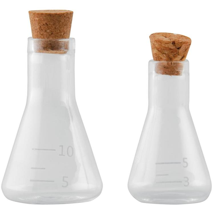 "59613 Idea-Ology Small Corked Glass Flasks 2/Pkg Laboratory 2"" To 2.375"" (TH94080)."