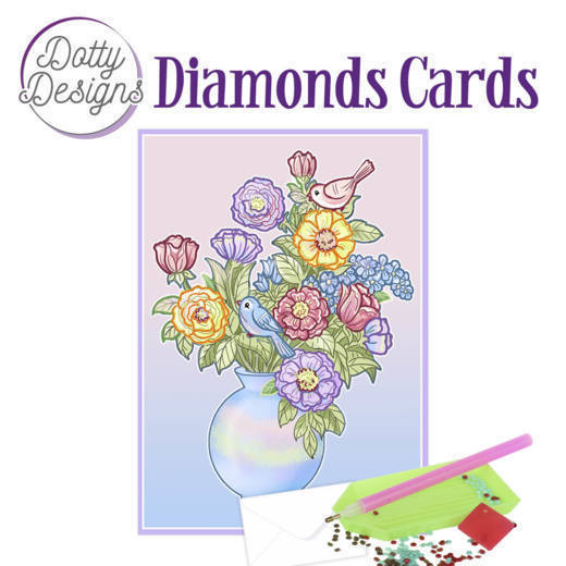 59956 DDDC1023 Dotty Designs Diamond Card - Vase with Flowers,