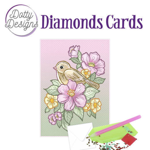 59957 DDDC1015 Dotty Designs Diamond Card - Bird and Flowers.