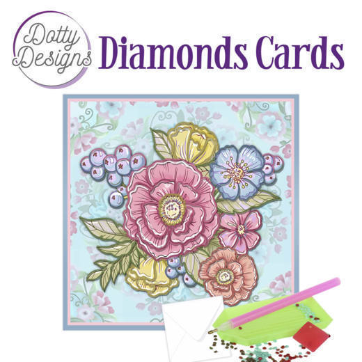 59962 DDDC1014 Dotty Designs Diamond Cards - Pastel Flowers.