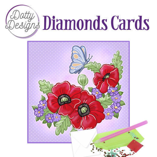59963 DDDC1013 Dotty Designs Diamond Cards - Red Flowers.