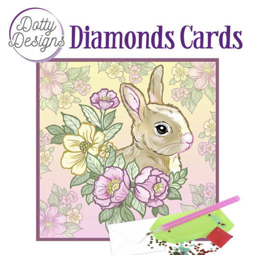 59965 DDDC1017 Dotty Designs Diamond Cards - Rabbit.