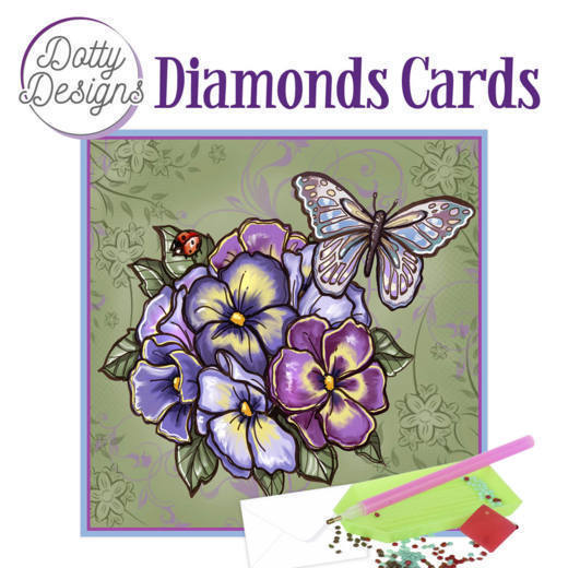 59966 DDDC1018 Dotty Designs Diamond Cards - Purple Flowers.