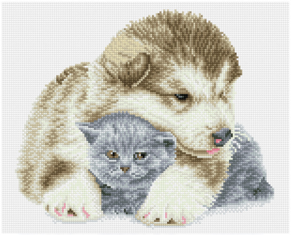 60168 DQK9.011 DIAMOND DOTZ® SQUARES - Pre Framed Kit - Formaat 34.2x42.2cm - Besties.